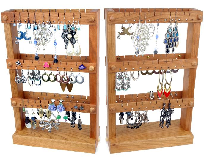 Double Sided Wooden Earring Holder Stands For Sale By Tom