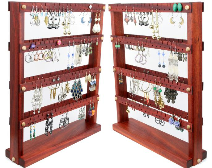 Tom S Earring Holder Double Sided Medium Bloodwood Wood Choices