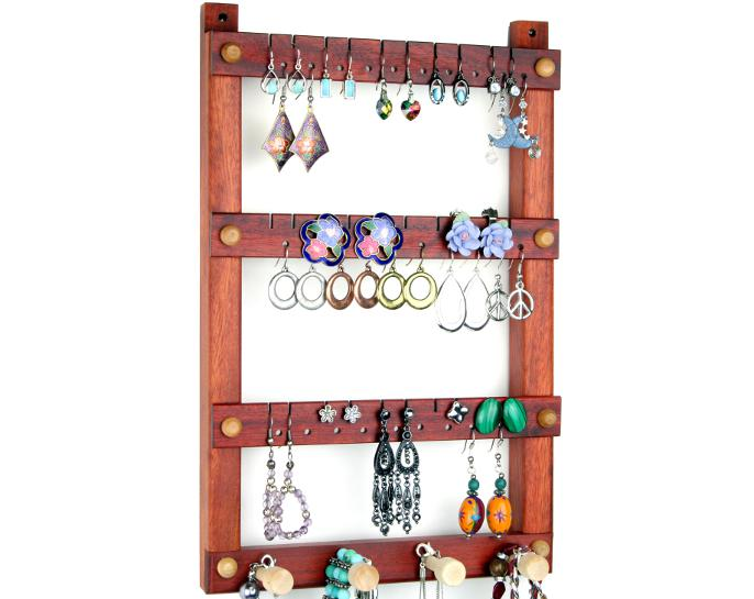Tom's Earring Holders Small Wall Mount Bloodwood Jewelry Holder with Necklace Holder Bar