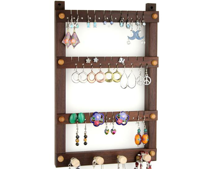 Tom's Earring Holders Small Wall Mount Peruvian Walnut Jewelry Holder with Necklace Holder Bar