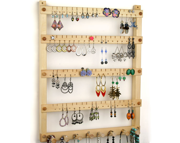 Tom's Earring Holders Basswood Earring Holder with Necklace Rack