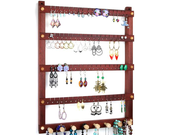 Tom's Earring Holders Bloodwood Jewelry Holder with Necklace Rack