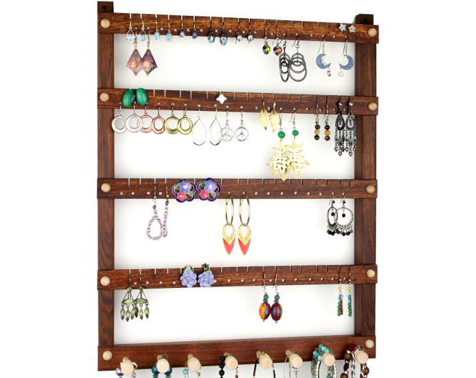 Tom's Earring Holders Caribbean Rosewood Jewelry Holder with Necklace Rack