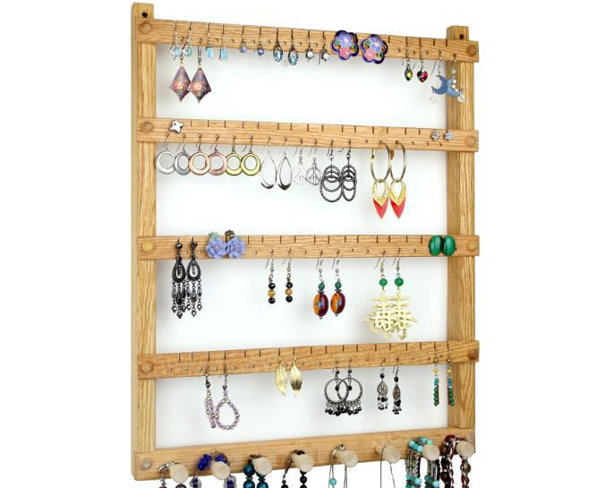 Tom's Earring Holders Oak Jewelry Organizer with Necklace Rack