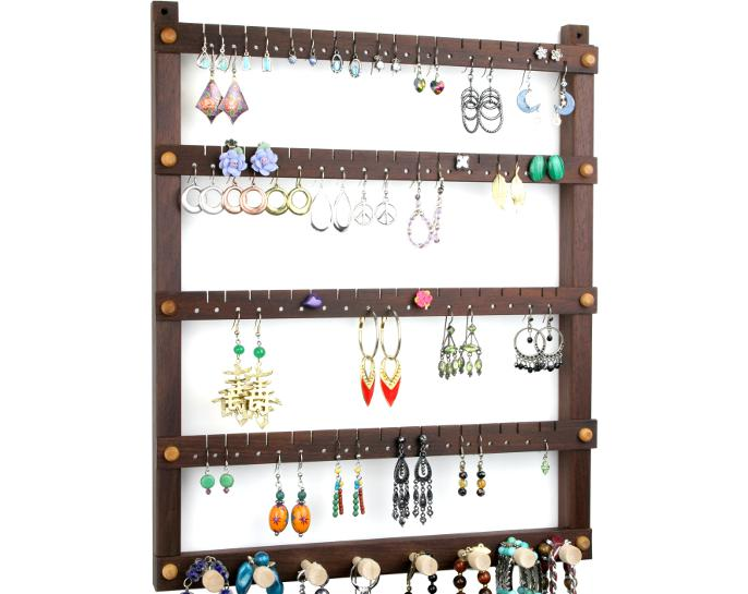 Tom's Earring Holders Peruvian Walnut Earring Organizer with Necklace Rack