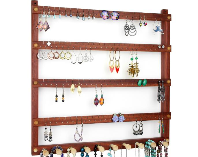 Tom's Earring Holders Large Bloodwood Jewelry Holder with Necklace Rack