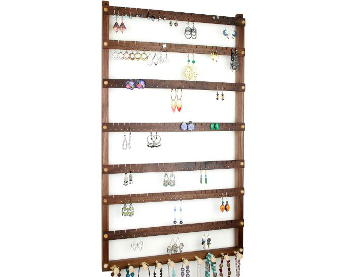 Tom's Earring Holders Extra-Large Black Walnut Jewelry Holder with Necklace Rack